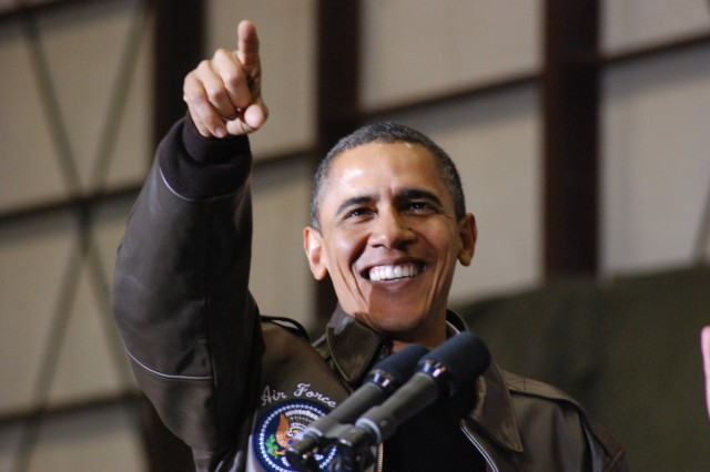 President Barack Obama spoke to servicemembers and civilians stationed at Bagram Airfield about the progress they're making in Afghanistan.