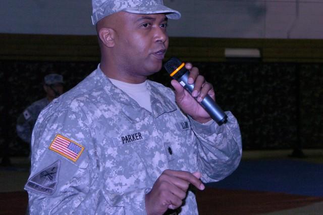 Lt. Col. Charles N. Parker Jr., commander of the Korean Service Corps Battalion, speaks at the annual KSC mobilization drill on Yongsan Garrison Dec. 8.