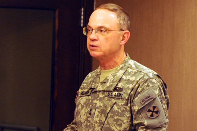 Eighth Army Deputy Commanding General Maj. Gen. Robert Williamson addresses the nominees for the Gen. Douglas MacArthur Leadership Award Dec. 8.
