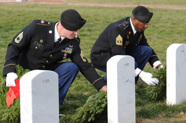 Sgt. 1st Class Christopher E. Maisel, a force protection noncommissioned officer with the 3d Sustainment Command (Expeditionary) and Denton, Md. native, and 1st Sgt. Jonathan Napier, the 3d ESC's first sergeant and Yatesville, Ga. native, lay wreaths on the headstones of fallen Veterans during the Wreaths Across America ceremony held at the Kentucky Veterans Cemetery Central in Radcliff on Sat., Dec. 11. Sgt. 1st Class Maisel and First Sgt. Napier were two of eight Soldiers from the 3d ESC and 233rd Transportation Company who participated in the ceremony in which wreaths were laid on the headstones of fallen Veterans. (U.S. Army photo by Sgt. Michael Behlin)