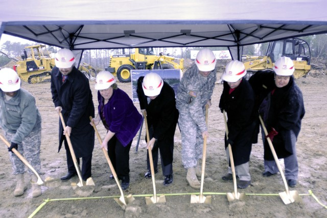 Army Reserve Col. John Strickland, commander for the 518th Sustainment Brigade, 143rd Expeditionary Sustainment Command, and state and federal leaders from Knightdale, N.C., break ground on a new Army Reserve facility that will eventually be home to more than 600 Soldiers.