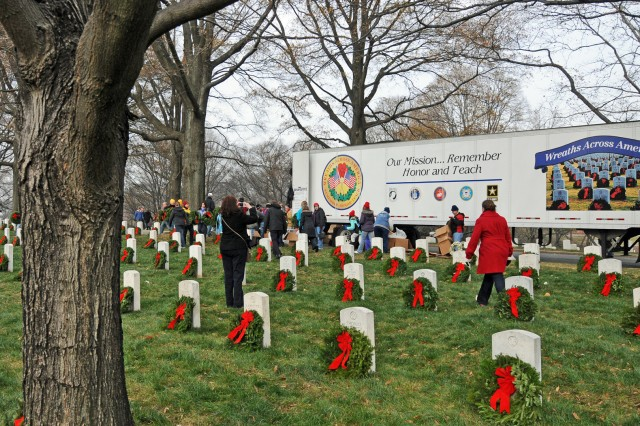 One of four tractor trailers made the journey from Bangor, Maine, carrying 24,000 wreaths, which were laid on Arlington National Cemetery graves by thousands of volunteers Dec. 11.