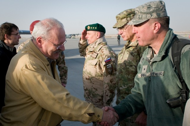 101215-A-5634G-001: Slovak President Ivan Gasparovic shakes the hand of Air Force Brig. Gen. Jeffery Kendall during a visit to the Slovak contingent Dec. 15 on Kandahar Airfield, Afghanistan. (U.S. Army photo by Spc. Edward A. Garibay, 16th Mobile Public Affairs Detachment)