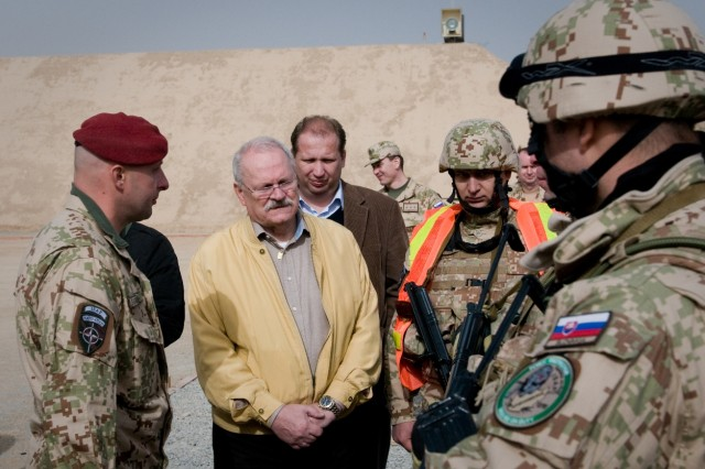 101215-A-5634G-005: Slovak President Ivan Gasparovic talks with the Slovak soldiers Dec. 15 during a visit to Kandahar Airfield, Afghanistan. (U.S. Army photo by Spc. Edward A. Garibay, 16th Mobile Public Affairs Detachment)