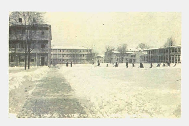 The parade field at Carlisle Barracks in Carlisle, Pennsylvania.  Students from the Carlisle Indian Industrial School would often play games and sports here, even during the cold winters.