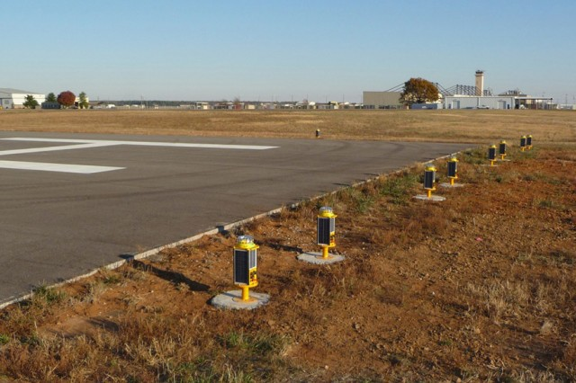Runway Threshold Edge lights are shown at Destiny Heliport at Campbell Army Airfield. The airfield's new state-of-the-art solar lighting system is FAA approved and environmentally friendly. (Photo courtesy of Sierra Nevada Corporation)