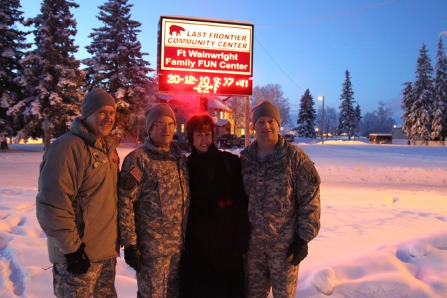 Gen. George W. Casey Jr., Army Chief of Staff (second from left) and his wife Sheila are greeted by Brig. Gen. Raymond Palumbo, commanding general of U.S. Army Alaska, and his deputy commander, Col. Mark Lowe.  The Caseys visited Soldiers and family members from U.S. Army, Alaska to bring holiday greetings and hear Soldier and family concerns.
