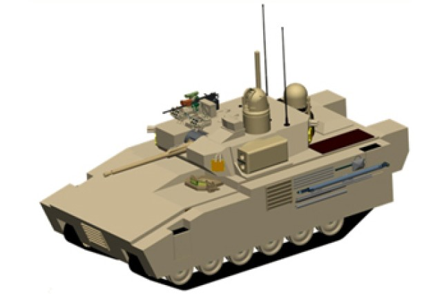 NOTE - Generic representation of a combat vehicle only. The final Army Ground Combat Vehicle may bear little to no resemblance to this representation. There is no requirement for the vehicle to be either tracked, or wheeled.