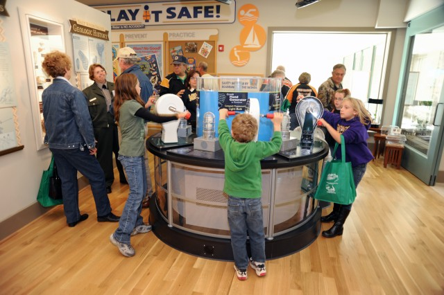 Visitors interact with exhibits and rangers at the recently-opened M.W. Boudreaux Memorial Visitor Center.