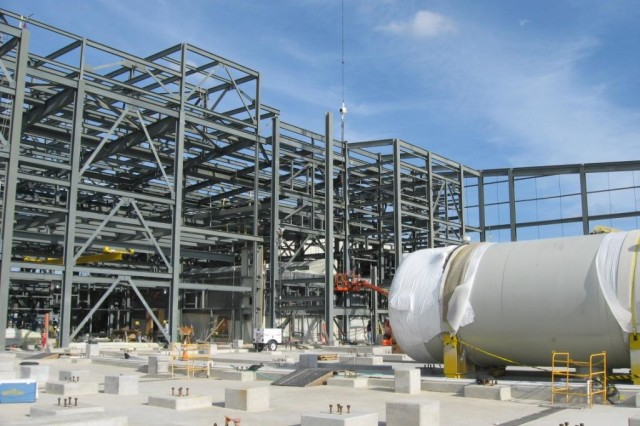 Structural steel installation continues on the Munitions Demilitarization Building.
