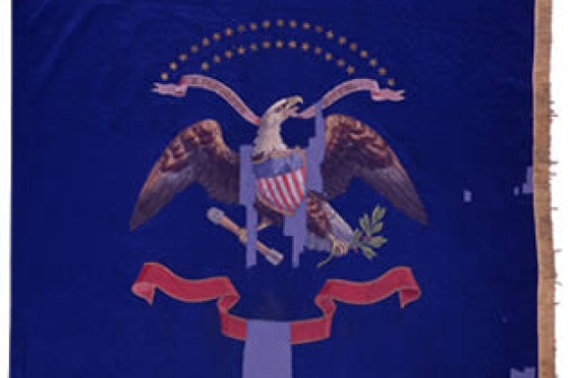 The flag of the 125th New York Volunteer Infantry, one of 800 Civil War flags held by the New York State Military Museum in Saratoga Springs, NY.