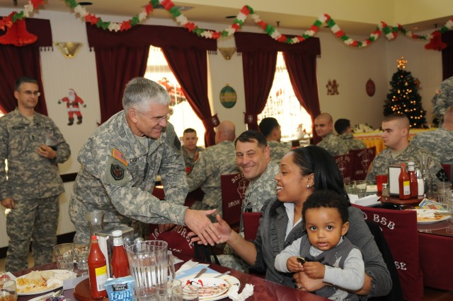 Gen. George Casey visited with Soldiers and Families of the 2nd Infantry Division Jan. 22, 2010. Soldiers of the 302d Support Battalion hosted Casey for lunch in the Iron Horse Dining Facility.