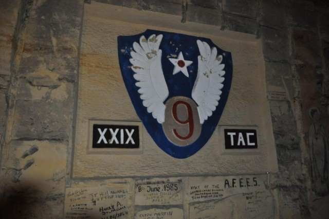 A tribute to the XXIX Tactical Air Command is carved in the wall of the De Schark Caves, Maastricht, where approximately 300 U.S. Service Memebers celebrated Christmas Eve in 1944. During World War II, XXIX Tactical Air Command supported the United States Ninth Army with tactical air support.
