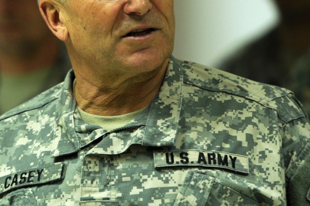 U.S. Army Chief of Staff. CONTINGENCY OPERATING BASE SPEICHER, Iraq - U.S. Army Chief of Staff Gen. George W. Casey, Jr., addresses Soldiers of the 4th Infantry Division, Task Force Ironhorse, during a special visit to northern Iraq, Dec. 24, 2010. Casey presented coins in recognition of outstanding Soldiers and led a mass reenlistment and reaffirmation ceremony for 66 Soldiers serving at COB Speicher during the visit with Soldiers of U.S. Division-North, deployed in support of Operation New Dawn. Casey told the troops present for the ceremony the American people recognize the hard work and commitment of the men and women serving in Iraq and honor the sacrifices of the Soldiers, especially during the Holidays.