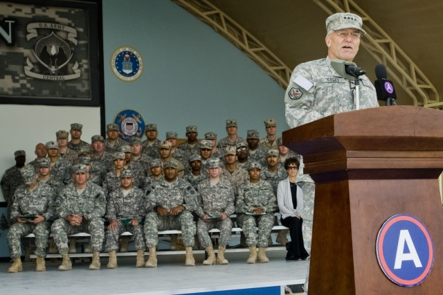 Army Chief of Staff Gen. George W. Casey Jr., speaks to Third Army Soldiers during his visit to Camp Arifjan, Kuwait, Dec. 24. Casey visited Camp Arifjan to speak with Third Army personnel and thank them for serving their country.