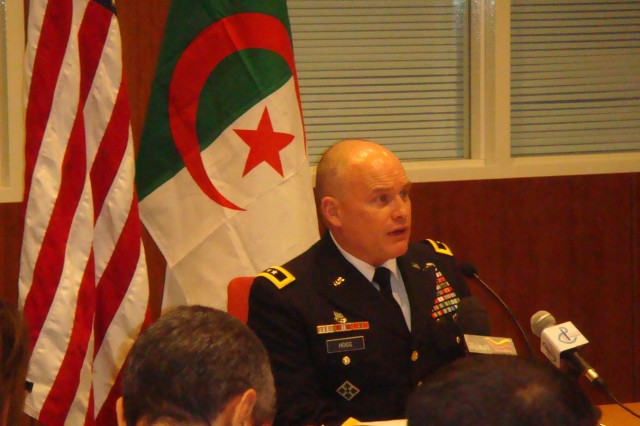 U.S. Army Africa (USARAF) Commander Maj. Gen. David R. Hogg, responds to a reporter's question during a press conference in Algiers, Algeria, Dec. 6, 2010.