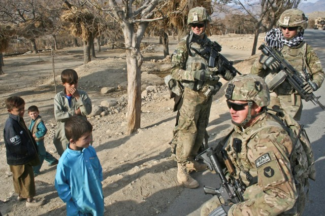 Talking with Afghan kids