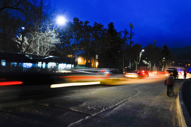 Solar-powered street lights now light up parts of Kabul at night.