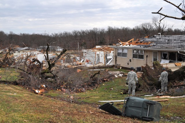 Soldiers assess tornado damage