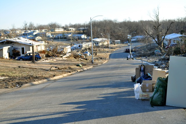 Houses damaged during a tornado New Year's Eve, on Fort Leonard Wood, Mo., are ready for Soldiers and their family members to pick up belongings so they can move into new homes on the post, Jan. 2, 2010.