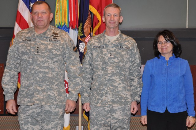 FORT McPHERSON, Ga. (Jan. 4, 2011) - (Left to Right) Gen. James D. Thurman, Lt. Gen. Howard. B. Bromberg, and his wife, Glenda Bromberg, stand ready as the orders are posted.