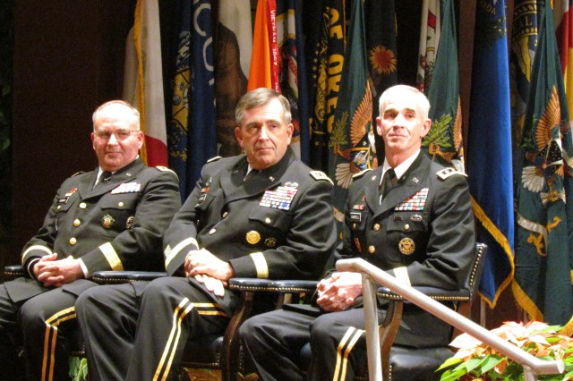 Leading the way during the Dec. 15 retirement and change of command ceremony for the Space and Missile Command/Army Forces Strategic Command are, from left, incoming commander Lt. Gen. Richard Formica, vice chief of staff of the Army Gen. Peter Chiarelli and outgoing commander Lt. Gen. Kevin Campbell.
