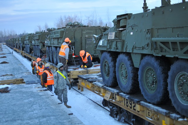 Stryker vehicles loaded for NTC