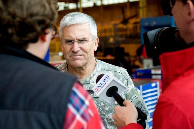 Chief of Staff of the US Army, Gen. George W. Casey Jr., talks with members of the media at the Corpus Christi Army Depot, TX, Jan. 10, 2011.  The depot is a US Department of Defense Center of Industrial and Technical Excellence for rotary wing aircraft.