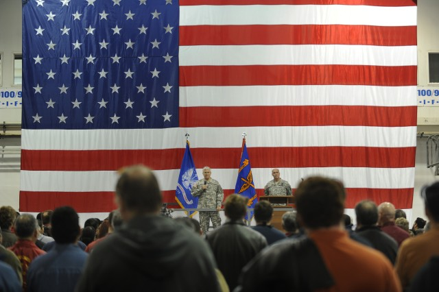 Gen. George W. Casey Jr.,  addresses approximately 300 employees of the Corpus Christi Army Depot Jan. 10, 2011.  The depot is a US Department of Defense Center of Industrial and Technical Excellence for rotary wing aircraft.