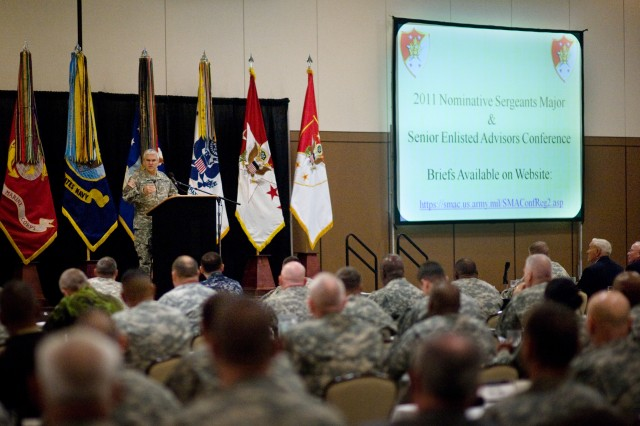 Chief of Staff of the Army, Gen. George W. Casey Jr., addresses the Command Sergeant Major Conference at Ft. Bliss, TX, Jan. 10, 2011.