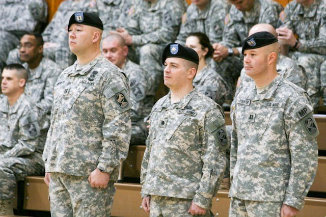 (Left to right) Capt. Tony Mortrud, Outgoing Alpha Company Commander, Lt. Col. Joe Miley, 49th Missile Defense Battalion Commander, and Capt. Ron Painter, Incoming Alpha Company Commander, stand at attention during the opening ceremony of the Military Police Company change of command on November 8th. (Photo by Staff Sgt. Jack Carlson III, 49th Missile Defense Battalion)