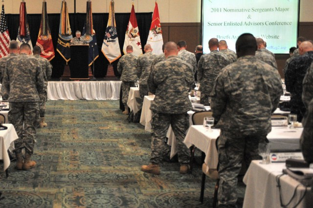 "Chief of Staff of the Army Gen. George W. Casey Jr. and the Sgt. Maj. of the Army Kenneth O. Preston, lead the participants of the 2011 Senior Enlisted Advisors Conference, at Fort Bliss, Texas, in a ""moment of silence"" in remembrance of those killed in the recent Tucson, Ariz., tragedy. This moment was held concurrently with the President's observation at 11 a.m. (ET), Jan. 10, 2011."