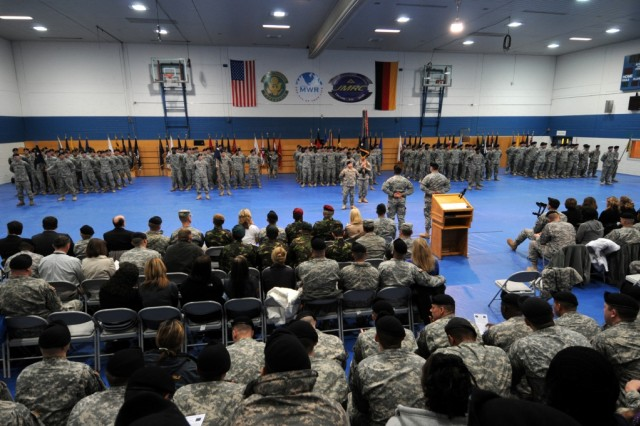 "All five companies of 1st Battalion, 4th Infantry Regiment stand in formation during their ""Completion of Mission"" ceremony in the Post Gym at U.S. Army Garrison, Hohenfels, Germany, Jan. 13, 2010."