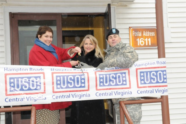 Ellen Malloy, United Services Organization Hampton Roads/Central Virginia chairperson, Maureen McDonnell, first lady of Virginia, and Col. Michael G. Morrow, U.S. Army Garrison, Fort Lee commander, cut the ribbon to the new USO facility on Fort Lee Tuesday.