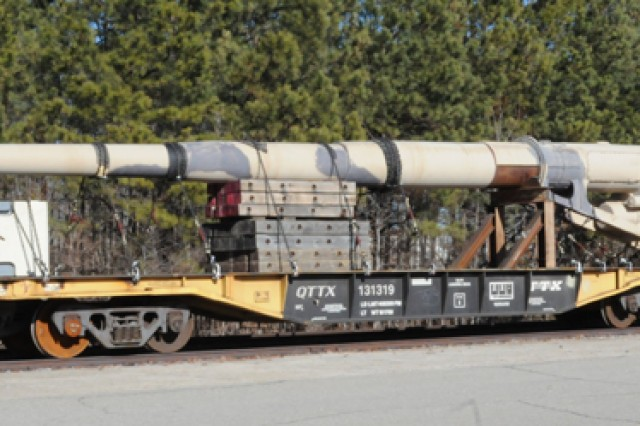 FORT LEE, Va. (Jan. 13, 2011) -- Anzio Annie's 70-foot barrel sets on tracks at Fort Lee Jan. 13. Annie, a K5 rail gun named for the World War II beachhead, was moved from Aberdeen Proving Ground, Md. to Fort Lee as part of the Ordnance School's Base Realignment and Closure-mandated relocation. Annie's gondola and two 12-wheel rail cars made its way to the installation in November. All components will be assembled and eventually displayed at Fort Lee.