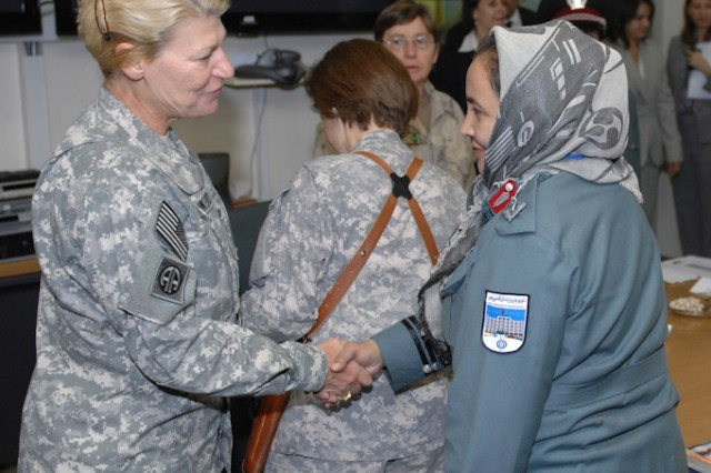 Gen. Ann Dunwoody, the commander of U.S. Army Materiel Command, met with her female Afghan counterparts during a womenAca,!a,,cs roundtable event hosted at the U.S. Embassy on Sept. 29.