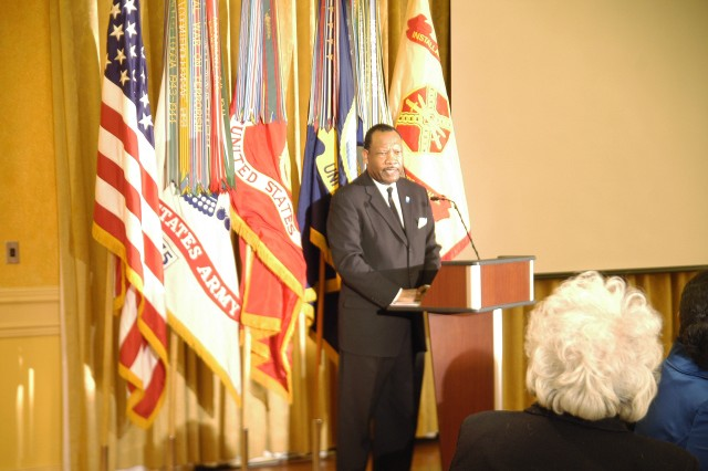 """Jim Lucas, special guest speaker for the Jan. 12 celebration of the birth of the late Dr. Martin Luther King, Jr., performs parts of the civil rights leader's speeches, one of which was Dr. King's """"I Have a Dream"""" speech, delivered Aug. 28, 1963, at the Lincoln Memorial in Washington D.C.  Dr. King was born in Atlanta Jan. 15, 1929; he was ordained a minister in 1947; became a pastor of a church in Montgomery, Ala., in 1954; led a bus boycott in 1955-56; led the march on Washington in 1963; was awarded the Nobel Peace Prize in 1964; and was murdered in Memphis, Tennessee, in 1968. He was 39 years old. Check this web site -- http://mlkday.gov -- for information on making sure the holiday is """"a day on, not a day off."""""""