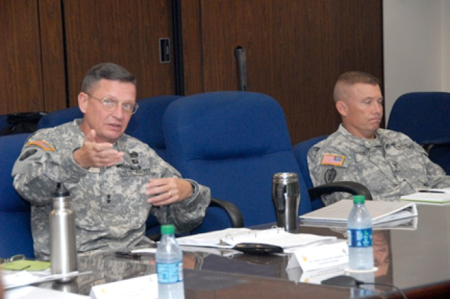 SCHOFIELD BARRACKS, Hawaii - Maj. Gen. Michael J. Terry, commander, U.S. Army-Hawaii, emphasizes a point at the Community Health Promotion Council, Jan. 4, here.