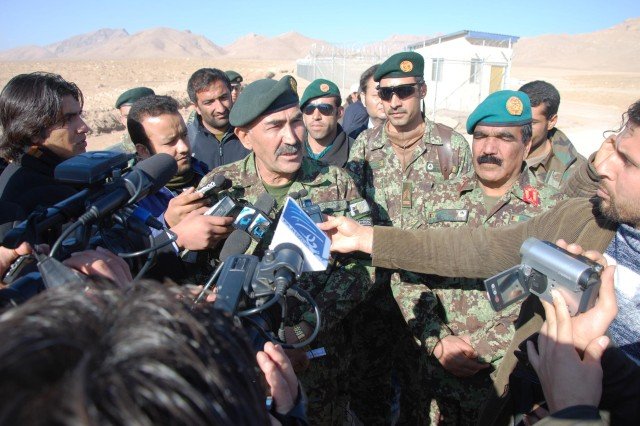 Maj. Gen. Mohiuddin Ghori, Afghan National Army 207th Corps chief of staff, speaks with reporters at the first Corps training complex of the Afghan National Army at Camp Zafar, Herat, in western Afghanistan.