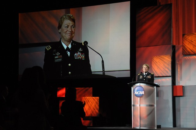 Gen. Ann E. Dunwoody speaks at the NCAA Honors Celebration in San Antonio, Texas after receiving their highest award, the Theodore Roosevelt Award. U.S. Army Photo by Chris Putman