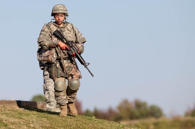 Sgt. Sherri Gallagher walks off range