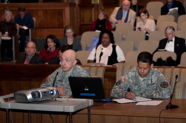 Maj. Gen. Nick Justice, left, Aberdeen Proving Ground senior installation commander, and Col. Orlando Ortiz, garrison commander, appear before the Maryland General Assembly Jan. 18, to provide an update on Base Realignment and Closure measures at Aberdeen Proving Ground.