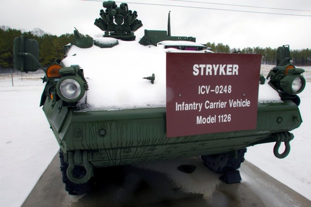 A Stryker on display at Anniston Army Depot shows snow accumulation.
