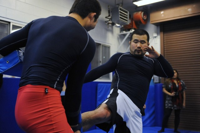 Mixed Martial Arts fighters train with Soldiers in Korea