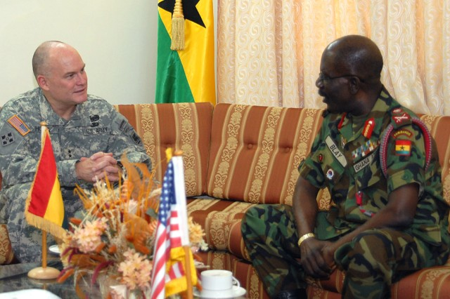 Maj. Gen. David R. Hogg, commanding general, U.S. Army Africa, talks with Ghanaian Lt. Gen. Peter Augustine Blay, Ghanaian chief of Defense Staff, during a meeting in Accra, Ghana, Jan. 11. The two met to discuss the future of U.S. Army and Ghanaian Army partnership. Both officers expressed satisfaction with the growth of the positive partnership between the two countries.