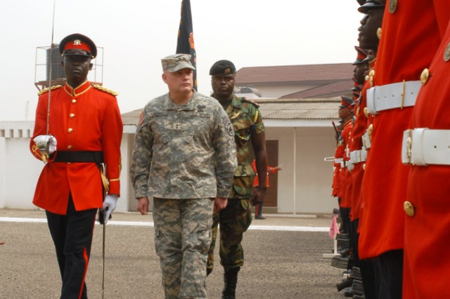 Maj. Gen. David R. Hogg, commanding general, U.S. Army Africa, reviews Ghanaian military forces upon arrival at Burma Camp in Accra, Ghana, Jan. 11. Hogg met with Ghanaian Lt. Gen. Peter Augustine Blay, chief of Defense Staff, and Ghanaian Maj. Gen. Joseph Narh Adinkrah, chief of army, during his two-day visit to the country. Discussions centered on the future of U.S. Army and Ghanaian Army partnership and joint training.