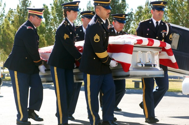 Soldiers from 1st Squadron, 221st Cavalry, Nevada Army National Guard, carry the casket of Spc. Ronald Gaines during his funeral service in Las Vegas, Jan. 18. Gaines was killed in hit and run accident while riding his motorcycle on Jan. 8. Gaines deployed with 1-221 under the 11th ACR and returned home in 2010. (Photo by Spc. Zachary A. Gardner, 11th ACR Public Affairs)