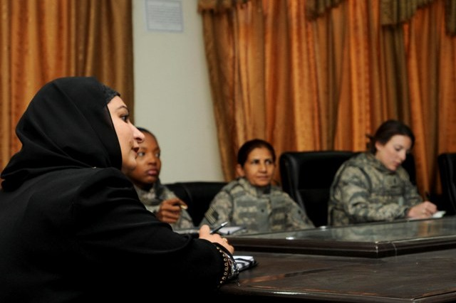 Hala Hushawa, Paktika's new director of women's affairs, meets with female engagement team members from the Paktika Provincial Reconstruction Team here Nov. 7. Hushawa and team members discussed the needs of Paktika's female population including Islamic classes and healthcare.