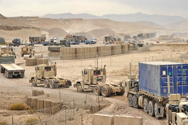 Soldiers of the 24th and 287th Transportation Companies conduct one of numerous logistics convoys in southern Afghanistan. The convoy was part of a joint effort between U.S. and Dutch forces to relocate equipment between Tarin Kowt and Kandahar using coalition and host nation trucks. The convoy consisted of more than 40 vehicles and took approximately 15 hours to traverse 63 miles of rugged terrain. The 24th TC and the 287th TC are assigned to the 1225th Combat Sustainment Support Battalion, 43rd Sustainment Brigade, Joint Sustainment Command-Afghanistan. Since mid-October, JSC-A units have conducted more than 1,800 combat logistics patrols delivering supplies and equipment throughout Afghanistan. (U.S. Army photo by 1st Lt. Steven P. Haggerty, 1225th CSSB)