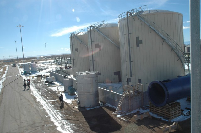 The treated water from the Immobilized Cell Bioreactors is stored and equalized in these Brine Concentrator Feed Tanks prior to the liquid being fed to the Brine Reduction System.